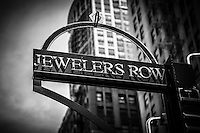Chicago Jewelers Row sign black and white photo. Jewelers Row is a historic landmark district in downtown Chicago and is primarily jewelry stores.
