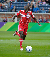 Chicago forward Dominic Oduro (8) dribbles toward the New England goal.  The Chicago Fire defeated the New England Revolution 3-2 at Toyota Park in Bridgeview, IL on Sept. 25, 2011.