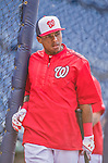 22 May 2015: Washington Nationals infielder Wilmer Difo awaits his turn in the batting cage prior to a game against the Philadelphia Phillies at Nationals Park in Washington, DC. The Nationals defeated the Phillies 2-1 in the first game of their 3-game weekend series. Mandatory Credit: Ed Wolfstein Photo *** RAW (NEF) Image File Available ***