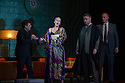 Opera North presents THE MAKROPULOS CASE, by Janacek, at the Festival Theatre, as part of the Edinburgh International Festival. Picture shows: Paul Nilon (as Albert Gregor), Ylva Kihlberg (as Emilia Marty), James Creswell (as Dr Kolenaty) and Mark le Brocq (as Vitek)..