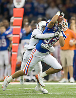 01 January 2010:  David Nelson of Florida catches a pass from Tim Tebow during the game against Cincinnati during Sugar Bowl at the SuperDome in New Orleans, Louisiana.  Florida defeated Cincinnati, 51-24.