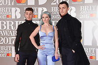 Clean Bandit - Grace Chatto, Jack Patterson &amp; Luke Patterson at the 2017 Brit Awards at the O2 Arena in London, UK. <br /> 22 February  2017<br /> Picture: Steve Vas/Featureflash/SilverHub 0208 004 5359 sales@silverhubmedia.com