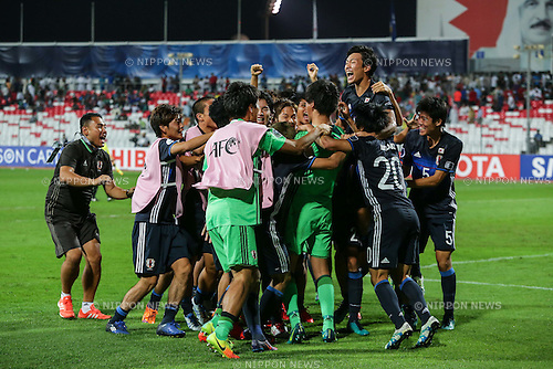 Japan team group (JPN), OCTOBER 30, 2016 - Football / Soccer : Japan players celebrate after winning the penalty shoot-out during the AFC U-19 Championship Bahrain 2016 Final match between Japan 0(5-3)0 Saudi Arabia at Bahrain National Stadium in Riffa, Bahrain. (Photo by AFLO)