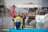 Danish Champion Michael M&oslash;rk&oslash;v chatting with a teammate next to the start podium<br /> <br /> 57th E3 Harelbeke 2014