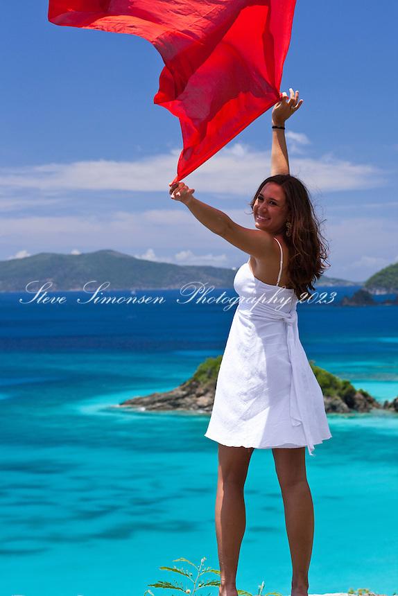 Natalie with a red scarf<br /> Trunk Bay Overlook<br /> St. John<br /> Virgin Islands National Park