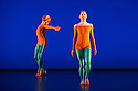"""London, UK. 20.11.2013. Michael Clark Company in a piece set to """"Albatross"""" by Public Image Limited, at the Barbican. Dancers are: Harry Alexander, Julie Cunningham, Melissa Hetherington, Oxana Panchenko, Daniel Squire and Benjamin Warbis.  Picture shows: Julie Cunningham and Melissa Hetherington. Photograph © Jane Hobson."""