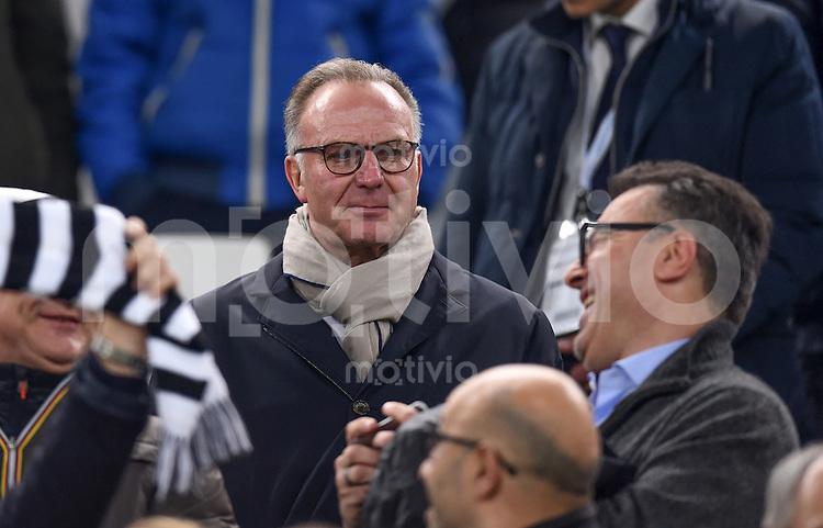 FUSSBALL CHAMPIONS LEAGUE  SAISON 2015/2016  ACHTELFINALE HINSPIEL Juventus Turin - FC Bayern Muenchen             23.02.2016 Vorstandsvorsitzender Karl Heinz Rummenigge (FC Bayern Muenchen) zu Gast auf der Tribuene