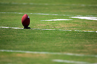 17 May 2005: Football, ready for punt, grass, field, marker, goal line, chalk, stock, closeup, texture, Sports Ball graphic detail, illustration, product, art, clean. Ready for all uses.  Mandatory Credit:  Shelly Castellano