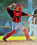 30 June 2012: Lowell Spinners catcher J.T. Watkins in action against the Vermont Lake Monsters at Centennial Field in Burlington, Vermont. Mandatory Credit: Ed Wolfstein Photo