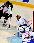 15 November 2008:  Philadelphia Flyers' center Glen Metropolit takes a wrist shot on net in the first period against the Montreal Canadiens during their first meeting in Montreal since the Flyers knocked the Canadiens out of the playoffs last season. The Canadiens, celebrating their 100th season, fell to the visiting Flyers 2-1 at the Bell Centre in Montreal, Quebec, Canada. ***Editorial Sales Only***..Mandatory Photo Credit: Ed Wolfstein Photo *** Editorial Sales through Icon Sports Media *** www.iconsportsmedia.com