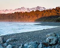 Dusk on Gillespies Beach with Southern Alps in background, Westland Tai Poutini National Park, UNESCO World Heritage Area, West Coast, New Zealand, NZ