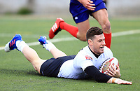 TORONTO, ON - MAY 06:  Blake Wallace #6 of Toronto Wolfpack scores the first home try in the history of the Toronto Wolfpack during the first half of a Kingstone Press League 1 match against Oxford RLFC at Lamport Stadium on May 6, 2017 in Toronto, Canada.  (Photo by Vaughn Ridley/SWpix.com)