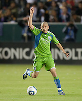 CARSON, CA – NOVEMBER 7:  Seattle Sounders midfielder Osvaldo Alonso (6) during a playoff soccer match at the Home Depot Center, November 7, 2010 in Carson, California. Final score LA Galaxy 2, Seattle Sounders 1.