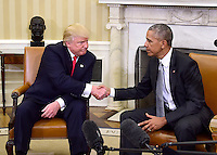 United States President Barack Obama meets US President-elect Donald Trump in the Oval Office of the White House in Washington, DC on November 10, 2016.<br />