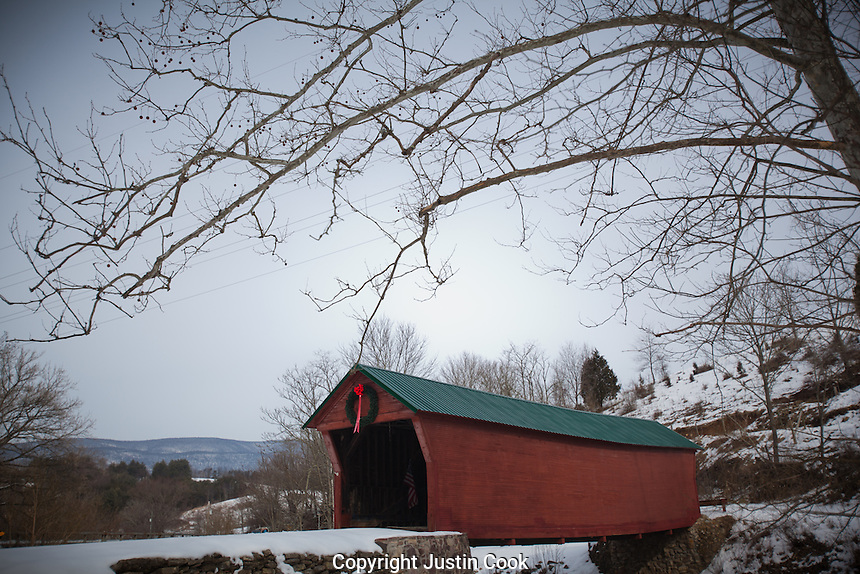 A covered bridge in the snow near Pembroke, in Giles County, Virginia in the Blue Ridge Mountains