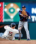 5 September 2009: Minnesota Twins' shortstop Orlando Cabrera in action against the Cleveland Indians at Progressive Field in Cleveland, Ohio. The Twins defeated the Indians 4-1 in the second game of their three-game weekend series. Mandatory Credit: Ed Wolfstein Photo