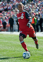 26 March 2011: Toronto FC defender Mikael Yourassowsky #19 in action during an MLS game between the Portland Timbers and the Toronto FC at BMO Field in Toronto, Ontario Canada..Toronto FC won 2-0....