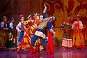 "London, UK. 08.07.2014. Andris Liepa returns to the London Coliseum with his programme of ""Saisons Russes de XXIe Siecle"" from July 8th to 19th. The programme includes the London premiere of Rimsky-Korsakov's LE COQ D'OR, or THE GOLDEN COCKEREL. Dancers are: Pavel Okuev (Golden Cockerel), Oleg Fomin (Dodon), Natalia Savelieva Polkan (Queen of Shamakha), Yulia Selivanova (Amelfa), Ekaterina Blaschik (Guidon), Ekaterina Zaytseva (Afron), Maksim Podshivaylenko (Astrologer). Photograph © Jane Hobson."