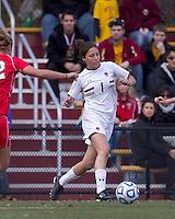 Boston College forward Victoria DiMartino (1) at midfield.  Boston College defeated Marist College, 6-1, in NCAA tournament play at Newton Campus Field, November 13, 2011.