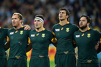 Schalk Burger, Francois Louw, Eben Etzebeth and Frans Malherbe of South Africa sing the national anthem. Rugby World Cup Bronze Final between South Africa and Argentina on October 30, 2015 at The Stadium, Queen Elizabeth Olympic Park in London, England. Photo by: Patrick Khachfe / Onside Images