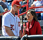 12 March 2011: Washington Nationals' pitcher Stephen Strasburg is interviewed by MASN Broadcaster Debbi Taylor during a Spring Training game against the New York Yankees at Space Coast Stadium in Viera, Florida. The Nationals edged out the Yankees 6-5 in Grapefruit League action. Mandatory Credit: Ed Wolfstein Photo