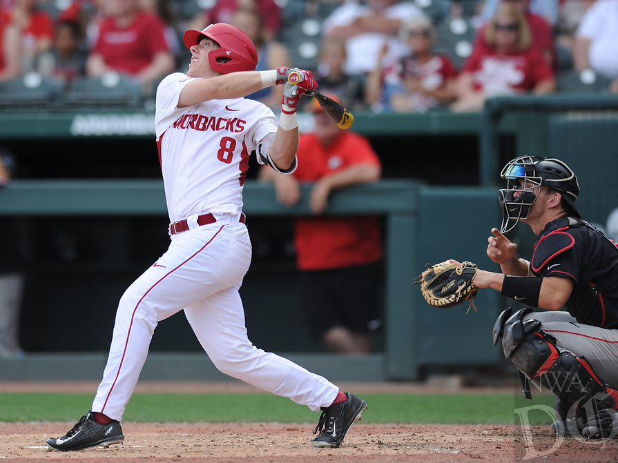 NWA Democrat-Gazette/ANDY SHUPE<br />Arkansas right fielder Eric Cole connects with the ball against Georgia Saturday, April 15, 2017, during the fourth inning at Baum Stadium in Fayetteville. Visit nwadg.com/photos to see more photographs from the game.