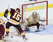 Jake Hendrickson (Duluth - 15), Parker Milner (BC - 35) - The Boston College Eagles defeated the University of Minnesota Duluth Bulldogs 4-0 to win the NCAA Northeast Regional on Sunday, March 25, 2012, at the DCU Center in Worcester, Massachusetts.