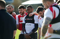 Semesa Rokoduguni of Bath Rugby looks on in a huddle. Bath Rugby Captain's Run on February 19, 2016 at the Recreation Ground in Bath, England. Photo by: Patrick Khachfe / Onside Images