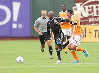 San Francisco, California - Saturday March 17, 2012: Tressor Moreno and Brian Ching in action during the MLS match at AT&T Park. Houston Dynamo defeated San Jose Earthquakes  1-0