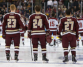Patrick Brown (BC - 23), Bill Arnold (BC - 24), Quinn Smith (BC - 27) - The Boston College Eagles defeated the Harvard University Crimson 4-1 in the opening round of the 2013 Beanpot tournament on Monday, February 4, 2013, at TD Garden in Boston, Massachusetts.