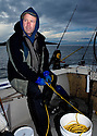 WA04227-00...WASHINGTON - Shrimp fisherman on the waters off San Juan Island. (model released)