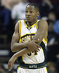 .Seattle SuperSonics Ray Allen complains to a referee after getting hit on the arm by a Los Angeles Clipper in the fourth period on Friday, April 14, 2006 at the Key Arena in Seattle.  Jim Bryant Photo. &copy;2010. All Rights Reserved.