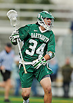 24 April 2012: Dartmouth College Big Green midfielder Patrick Resch, a Sophomore from Flourtown, PA, in action against the University of Vermont Catamounts at Virtue Field in Burlington, Vermont. The Big Green defeated the Catamounts 10-5 in Men's Varsity Lacrosse action. Mandatory Credit: Ed Wolfstein Photo