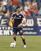 New England Revolution defender Stephen McCarthy (26) looks to pass. In a Major League Soccer (MLS) match, Montreal Impact defeated the New England Revolution, 1-0, at Gillette Stadium on August 12, 2012.
