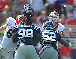 Ole Miss' Uriah Grant (98) helmet comes off at Vaught-Hemingway Stadium in Oxford, Miss. on Saturday, September 24, 2011. Georgia won 27-13.