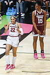 DALLAS, TX - APRIL 2: A'ja Wilson #22 of the South Carolina Gamecocks reacts during the 2017 Women's Final Four at American Airlines Center on April 2, 2017 in Dallas, Texas. (Photo by Timothy Nwachukwu/NCAA Photos via Getty Images)