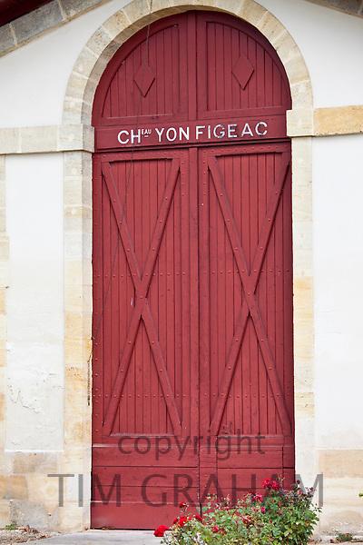 Chateau Yon Figeac wine chai cave near St Emilion, Bordeaux, France