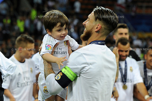 Sergio Ramos (Real), MAY 28, 2016 - Football / Soccer : Sergio Ramos of Real Madrid celebrates after winning the penalty shoot-out during the UEFA Champions League final match between Real Madrid 1(5-3)1 Atletico de Madrid at Stadio Giuseppe Meazza San Siro in Milan, Italy. (Photo by aicfoto/AFLO)