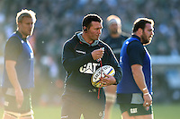 Leicester Tigers Head Coach Aaron Mauger looks on during the pre-match warm-up. Aviva Premiership match, between Leicester Tigers and Wasps on November 1, 2015 at Welford Road in Leicester, England. Photo by: Patrick Khachfe / Onside Images