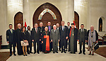 The Rev. Dr. Olav Fykse Tveit, the general secretary of the World Council of Churches, and Patriarch Louis Rafael Sako, president of the synod of the Chaldean Catholic Church, pose with Iraqi President Fuad Masum and other members of an international ecumenical delegation following a meeting in Baghdad, Iraq, on January 22, 2017.