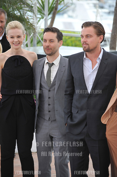 "Leonardo DiCaprio, Carey Mulligan & Tobey Maguire at the photocall for their movie ""The Great Gatsby"" at the 66th Festival de Cannes..May 15, 2013  Cannes, France.Picture: Paul Smith / Featureflash"
