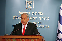 Israel's Prime Minister Benjamin Netanyahu during a press conference in his office, speaking about the reform in Israel's seaports, in Jerusalem, on July 3, 2013.  Photo by Oren Nahshon