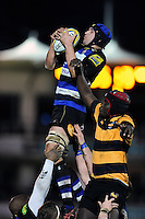 Alex Humfrey of Bath United wins the ball at a lineout. Aviva A-League match, between Bath United and Wasps A on December 28, 2016 at the Recreation Ground in Bath, England. Photo by: Patrick Khachfe / Onside Images