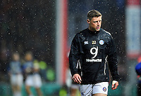 Rhys Priestland of Bath Rugby looks on from the sidelines. Aviva Premiership match, between Gloucester Rugby and Bath Rugby on March 26, 2016 at Kingsholm Stadium in Gloucester, England. Photo by: Patrick Khachfe / Onside Images