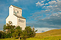 Old grain storage building at Virgelle, Montana.