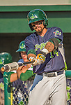 29 June 2014:  Vermont Lake Monsters outfielder Dayton Alexander takes some on-deck swings during a game against the Lowell Spinners at Centennial Field in Burlington, Vermont. The Lake Monsters fell to the Spinners 7-5 in NY Penn League action. Mandatory Credit: Ed Wolfstein Photo *** RAW Image File Available ****