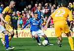 Motherwell v St Johnstone....28.04.12   SPL.Jody Morris tries to find a rout through Motherwell's defence.Picture by Graeme Hart..Copyright Perthshire Picture Agency.Tel: 01738 623350  Mobile: 07990 594431