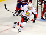 17 October 2009: Ottawa Senators right wing forward Daniel Alfredsson in action against the Montreal Canadiens at the Bell Centre in Montreal, Quebec, Canada. The Senators defeated the Canadiens 3-1. Mandatory Credit: Ed Wolfstein Photo
