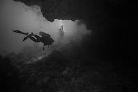 Scuba diving scenics in black and white; reefs off West End, Roatan, Honduras in December 2012.