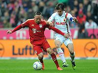 FUSSBALL   1. BUNDESLIGA  SAISON 2011/2012   29. Spieltag FC Bayern Muenchen - FC Augsburg       07.04.2012 Franck Ribery (li, FC Bayern Muenchen) gegen Paul Verhaegh (FC Augsburg)